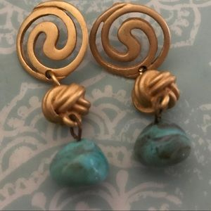 Turquoise and Gold Swirl Earrings